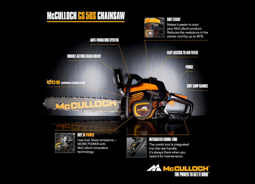 McCulloch - CS50S Αλυσοπρίονο με Λάμα 45cm