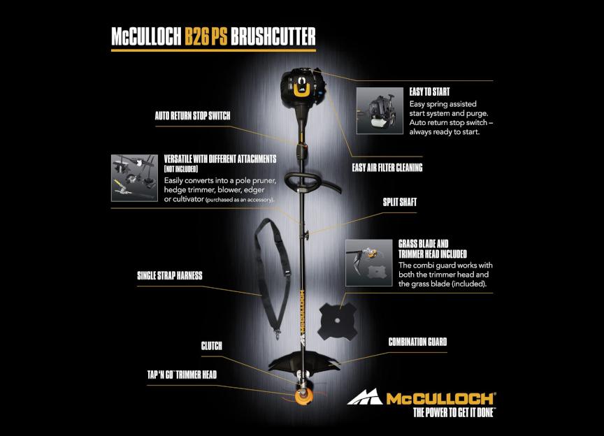 McCulloch – B26 PS Βενζινοκίνητο Χορτοκοπτικό 26.2cc