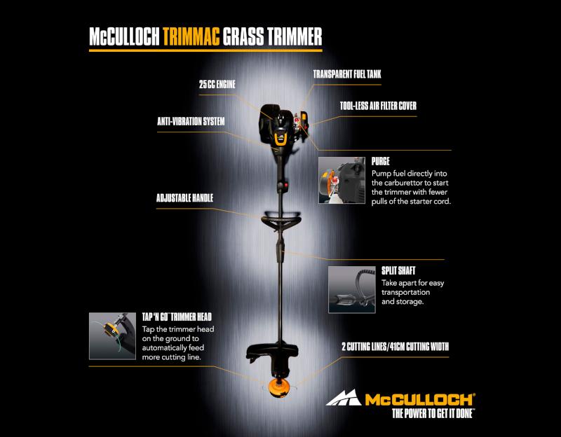 McCulloch – Trimmac Βενζινοκίνητο Χορτοκοπτικό 25cc
