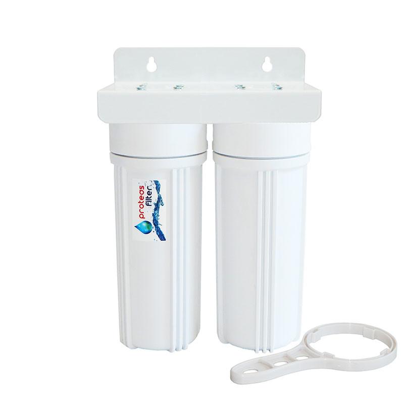 Proteas Filter - Διπλή Φιλτροθήκη 2Μ 10″ – 1/2″-Ορειχάλκινο Σπείρωμα