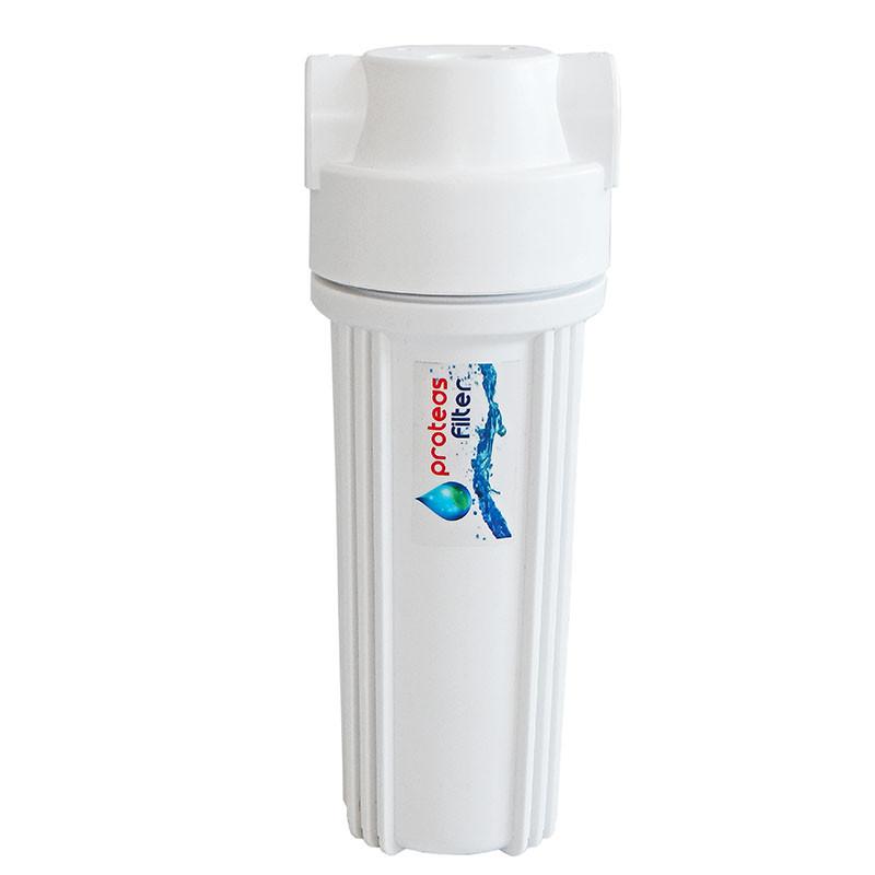 Proteas Filter - Μονή Φιλτροθήκη 2Μ Λευκή Πλαστική 10″ – 1/2″ – Κλειδί + Βάση