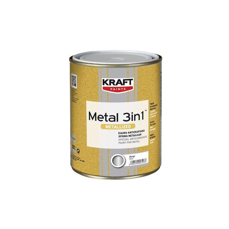 Kraft - Metal 3in1 Metallized Αντισκωριακό Χρώμα Μετάλλων 750ml
